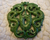 "Green Jade Dragon pendant/ paperweight 3"" from the fire comes life 2 dragons protect the world from harm by encircling them in fire"