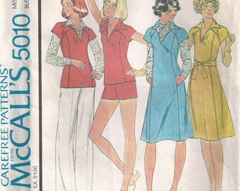 Dress Jumper Or Top Sleeves Cut In One With Front And Back Yokes And Pants Size 14 Sewing Pattern 1976 McCalls 5010