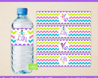Gymnastics Water Bottle Labels - Gymnastics Water Bottle Wraps - Tumbling Bottle Labels - Digtal & Printed Available