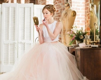 "Bridal Skirt - Norma J. - Two Piece Wedding Dress - Wedding Skirt - Tulle Wedding Dress - Color Wedding Dress - Tulle Skirt 10"" Train"