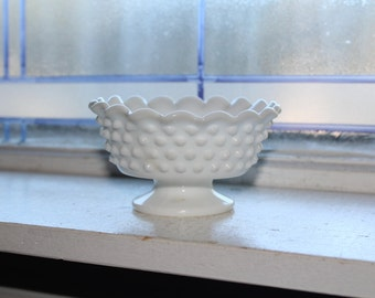 Vintage Fenton Milk Glass Hobnail Candle Holder Pedestal Dish Candlestick Holder