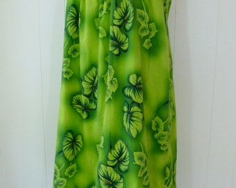 50's Cotton Hawaiian Dress Ui MaiKai Green Anthurium Leaf Print Sleeveless Muumuu Tiki Sheath Dress S