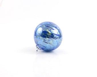 Iridescent Blue Blown Glass Ornament - O21