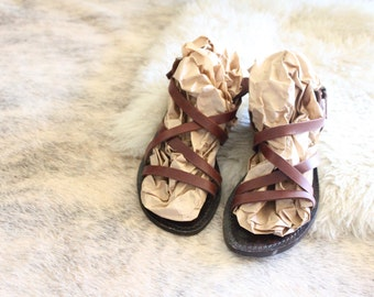 Vintage Strappy Chocolate Leather Sandals Sz 10