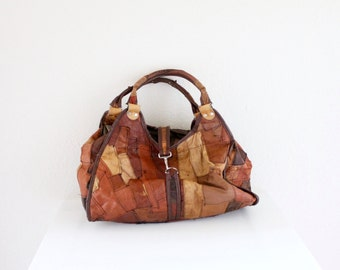 Vintage c1970's Rustic Patch Handbag