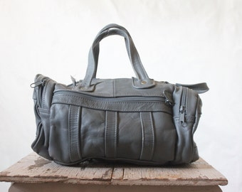 Vintage 80's Gray Leather Duffle Handbag Purse - See Details