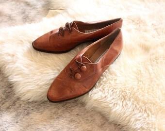 Vintage Italian Leather Loafers Sz 8