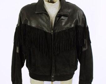 1980's Men's Black Suede Fringe Jacket - Rocker Fringe Jacket - Biker Fringe - 80's Hair Band Leather - Faux Lizard Leather - Size 46  XL