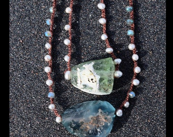 Freshwater Pearl and Roman Glass Reflection Necklace