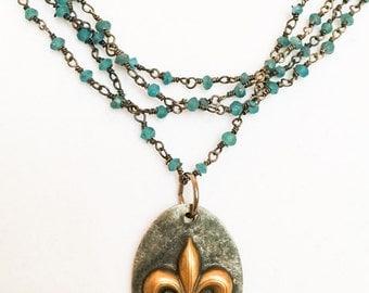 Brass Fleur de Lis Necklace - Multi Strand Apatite Necklace - Blue Gemstone Necklace - Apatite Rosary Chain Necklace - Fleur de Lis Necklace