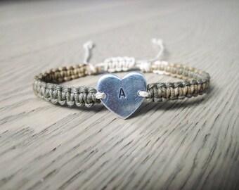 Initial Bracelet, Heart Bracelet, Initial Charm Bracelet, Custom Engraved Bracelet, Handstamped Bracelet