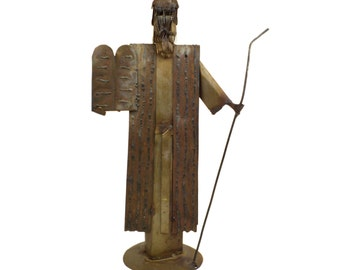 """Vintage Moses & Ten Commandments Brutalist Metal Sculpture // 1970s Abstract Modern Metalwork // Religious Collectible Figurine // Large 17"""""""