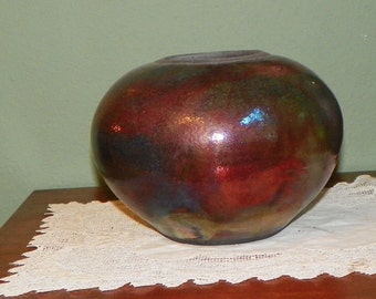 Raku Pottery Stoneware VASE BOWL Shiny reds blues