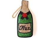 Glitter Fizz Champagne Bottle Clutch Handbag
