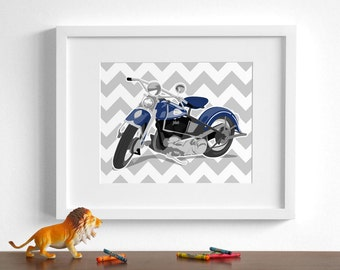 Motorcycle art print, boys wall art - pick your colors - Harley Davidson motorcycle art- chevron childrens wall art
