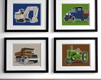 Vintage Transportaion boys wall art - set of 4 childrens art prints - nursery art drawings for boys