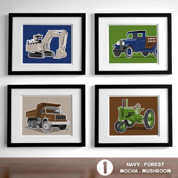 Vintage Transportaion boys wall art - set of 4 childrens art prints - nursery art drawings for boys