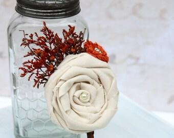 Autumn Boutonniere // Orange Dried Flowers, Burlap Flower, Ivory Fabric Flower, Groom Boutonniere, Fall Wedding, Woodland, Rustic Buttonhole