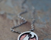Lone Wolf. Sterling Wolf Necklace. Mixed Metal Jewelry. Copper and Silver Wolf and Moon. Wolf Pendant. Howl. Moon and Stars. Wolf pack