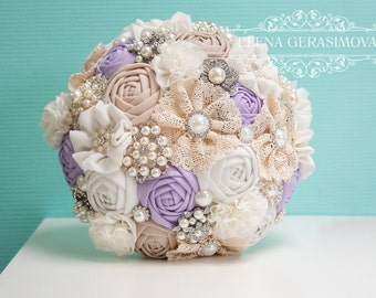 Brooch Bouquet, Ivory lilac Fabric Bouquet, Unique Wedding Bridal Bouquet