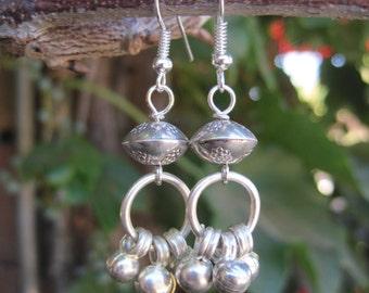 Boho Hippie Silver Dangle Bell Earrings - Gypsy Earrings - Boho Bohemian Silver Beaded Earrings