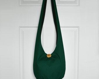 SALE Hobo Bag Boho Bag Hippie Purse Crossbody Bag Sling Bag Hippie Bag Handmade Purse Solid Color Hobo Bag Forest Hunter Green Fabric Purse