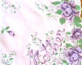Vintage Mother Nylon Hanky with Lavender roses and bows