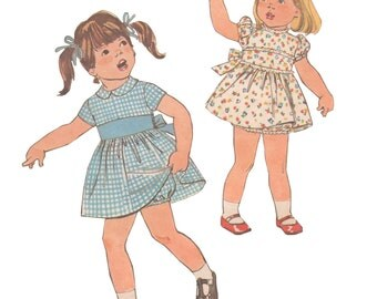 Simplicity 8448 Vintage 1970s Sewing Pattern Girl Toddler Size 1 or 2 Dress Panties Bloomers Peter Pan Collar Puff Sleeve Gathered Skirt