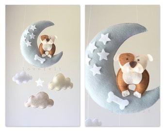 Baby mobile - Baby mobile dog - bulldog mobile - dog mobile - moon mobile