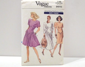 Pleated Bodice Dress Vintage Vogue 7186 Never Used 1980s Easy Sewing Pattern FF uncut Flared Skirt Dress 8 10 12 Waist Shaper Corset Inset