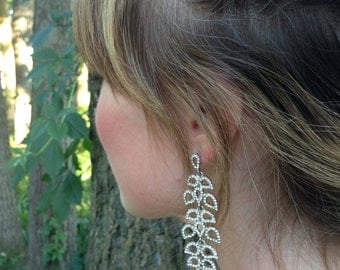 Crystal Bridal Earrings, Silver Wedding Earrings, Chandelier Earrings, Statement Earrings, Bridesmaid Gift