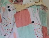 Baby Girl Blanket, Minky Blanket, Coral Crib Bedding, Coral Pink, Blush Pink, Mint Green, Black, Gold, Tribal Nursery