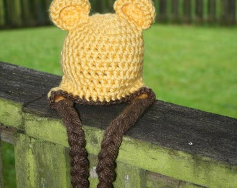 winnie the pooh hat, classic winnie the pooh hat, crochet hat, photography prop
