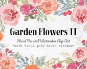 Garden Flowers II Hand Painted Watercolor Clipart Clip Art Personal Commercial Use peony ranunculus posy blossom rose pink gold brush banner