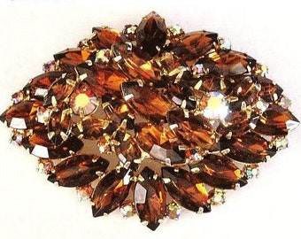 "Juliana Brooch Pin D&E Confirmed Mink Color AB Topaz Rhinestones Layered Gold Metal 2 3/4"" Vintage"