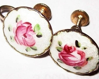 "Coro Pink Rose Earrings Signed Guilloche Enamel Screw on Backs Gold Metal 1"" Vintage"