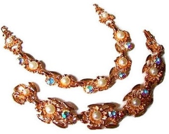 Coro Necklace Bracelet Demi Set AB Rhinestone & Faux Pearls Rose Gold High End Vintage