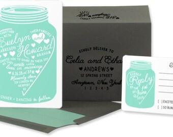 Mason Jar Wedding Invitations: Modern Rustic Wedding Invitations. Aqua and White. Shabby Chic Wedding. Modern Wedding.