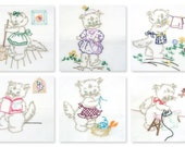 Vintage Set of 6 of Hand Embroidered Embellished Kitchen Dish Towels Flour Sack Tea Towels Kittens Cats Laundry Shopping Chores Farmhouse
