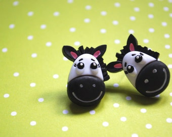Zebra Earrings -- Zebra Print Studs, Zebra Studs, Black and White