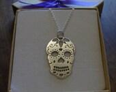 Sugar Skull Handmade Argentium Silver Pendant Necklace, Satin