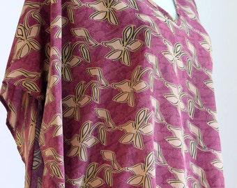 Hand Printed Kaftan, Silk Caftan, Silk Top, Casual Dress