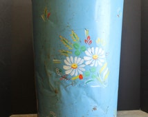 Vintage Distressed and Rustic Blue Trash Bin // Farm House Kitchen Can // Hand Painted Flowers