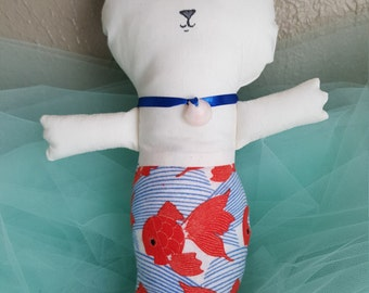 Yara Purrmaid White Cotton Fish Print Flannel Catfish Cat Mermaid Cat Doll