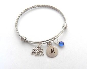 Elephant Bracelet, Strength Jewelry, Elephant Jewelry, Elephant Gift, Personalized Strength Bracelet, Initial, Monogram Birthstone