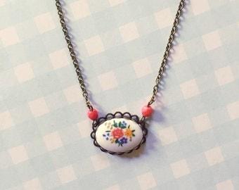 Vintage glass cabochon necklace