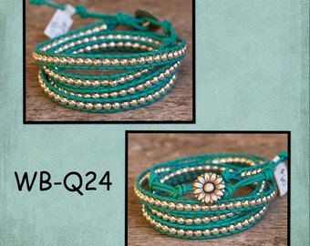 WB-Q24 quad beaded wrap bracelet - turquoise leather with silver plate beads