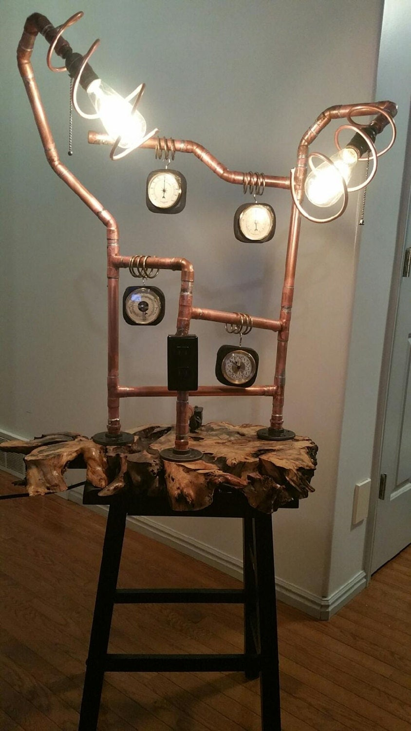 Copper pipe lamp with clock and thermometer