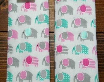 Reversible Ann Kelle Mini Urban Zoologie Pink Gray Aqua Elephant on White w/Opal Aqua Dimple Minky Baby Girl Car Seat Strap Covers ITEM #062