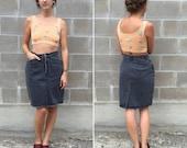 80s faded black denim pencil skirt